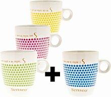 Senseo Design Fussball EM Sonderedition Tasse, 160 ml, 3 Tassen + 1 Tasse geschenk