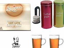 Senseo Kaffeepads Cafe Latte 8 Coffee Pads + 2 Metallicdosen mit Padheber + 2 Kaffeebecher mit Henkel