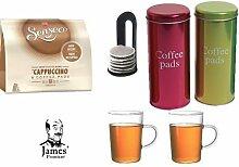 Senseo Kaffeepads Cappuccino 8 Coffee Pads + 2 Metallicdosen mit Padheber + 2 Kaffeebecher mit Henkel