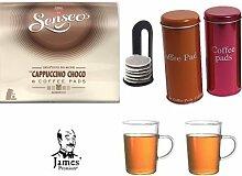 Senseo Kaffeepads Cappuccino Choco 8 Coffee Pads + 2 Metallicdosen mit Padheber + 2 Kaffeebecher mit Henkel