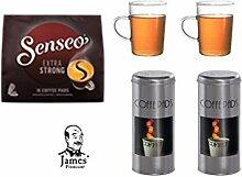 Senseo Kaffeepads Strong für Senseo und weitere Kaffeemaschinen Aktion 2 Pad Dosen + 2 Kaffeebecher mit Henkel