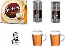 SENSEO®Typ Cappuccino – der Klassiker für Milchschaumfreunde + 2 x Paddose und 2 Becher/Cappucino Tassen passend für Senseo