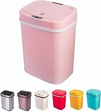 Sensor Mülleimer 12 Liter Automatik Abfalleimer bunt Push Kücheneimer Küche Bad Wohnzimmer (12 L, Rosé)
