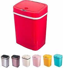 Sensor Mülleimer 12 Liter Automatik Abfalleimer bunt Push Kücheneimer Küche Bad Wohnzimmer (12 L, Pink)