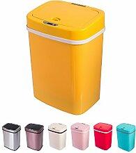 Sensor Mülleimer 12 Liter Automatik Abfalleimer bunt Push Kücheneimer Küche Bad Wohnzimmer (12 L, Gelb)