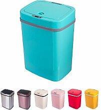 Sensor Mülleimer 12 Liter Automatik Abfalleimer bunt Push Kücheneimer Küche Bad Wohnzimmer (12 L, Blau)