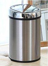 Sensor Mülleimer Abfalleimer Automatik Edelstahl für Wohnzimmer Küche Bad mit Abdeckung, Anti-Geruch, Ladung + Batterie, 6L / 8L / 12L , mirror silver , 12L