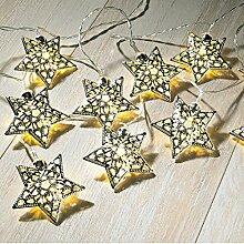 Sentik Innen Metall silber Stern Lichterkette mit 15warm weiße LED 's