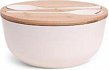 SENZA 24340 Salad Bowl + Spoon/Fork, Bamboo