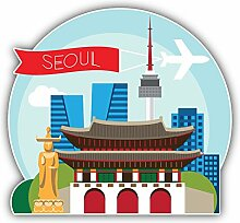 Seoul Travel Badge Kunst Dekor Aufkleber 12 x 12 cm