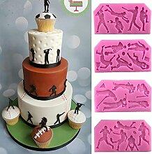 september-europe 4Fußball Golf Rugby DIY Kuchen Form Silikonform Schokolade Polymer Clay Craft Formen handgefertigt Craft-Sugarcraft Mould Backen Schokolade Backen Werkzeuge