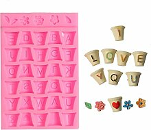 september-europe Blumentopf Buchstabe DIY Kuchen Form Silikon Form Schokolade Polymer Clay Craft Formen handgefertigt Craft-Sugarcraft Mould Backen Schokolade Backen Werkzeuge