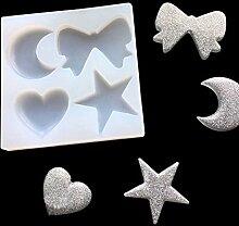 september-europe Jewelry aufreihmaterialien Formen, DIY handgefertigt Silikonform, transparent FORM für Harz, Kristall, quadratisch, Mond und Sterne, Schleife Geschenk