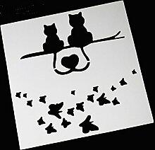 september-europe Kunststoff Kuchen dekorieren Schablone, Backen Werkzeuge, Katze, Schmetterling Kuchen Mesh Form