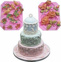 september-europe Rose Vögel Kuchen Blumen Edge DIY Fondant Cake Silikonform Schokolade Polymer Clay Craft Formen handgefertigt Craft-Sugarcraft Mould Backen Schokolade Backen Werkzeuge