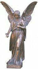 Serafinum Elegante Bronze Engel Skulptur mit Rose