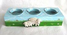 Serie: Deich Schafe Holz 3er Teelichthalter Kerzen