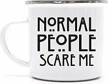 Serien Metalltasse Emaille Kaffee Becher mit Motiv bedruckte Tasse Mug AHS - Normal People Scare Me, Grˆfle: onesize,weifl/silber