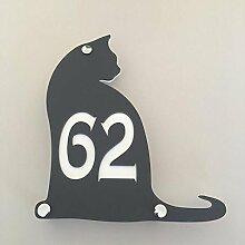 ServeWell Hausnummernschild mit Katzenmotiv,