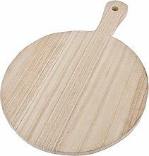 Servierplatte rund Landhaus Design Deko Massiv Holz 40x28cm natur