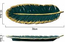 Serviertablett -Art Green Banana Leaf Form Keramik