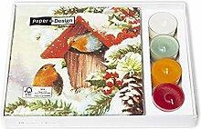 Servietten mit Teelicht Weihnachten 33x33 cm 20