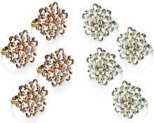 Serviettenringe mit Perlen, Blumendesign, 4 Stück