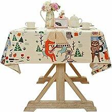 SESO UK- American Pastoral Cartoon Baumwolle und Leinen Tischdecken, TV Schrank Tuch, Tischtuch, Kaffee Tuch, Wohnkultur ( größe : 140*220cm )