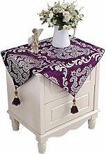 SESO UK- Europäische Luxus-Mode Klassische Tischdecken, TV-Schrank Tuch, Tischtuch, Kaffee Tuch, Hauptdekoration, Lila ( größe : 90*145cm )