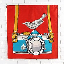SESO UK- Ländliche Baumwolle Leinen Tür Tür Vorhang Schattierung Schlafzimmer Badezimmer Tapisserie Raumteiler Wandbehänge - reduziert Wärmeverlust, verhindert Zugluft, spart Energie ( Farbe : Rot , größe : 85*90cm )