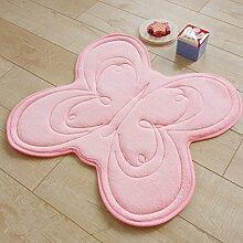 SESO UK- Langsame Rückstoß-Karikatur-Wolldecke, rutschfeste Fuß-Auflage-Matten-Küche-Teppich, fertigen Ihre Dose-Farbe, Schmetterling (60 * 60cm) ( Farbe : Pink )