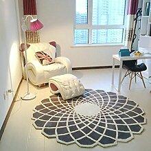 SESO UK- Moderner runder Teppich für Wohnzimmer Raster Große Villa Teppiche ( Farbe : Gray white , größe : 200cm )