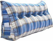 SESO UK- Schlafsofa Großes gefülltes dreieckiges Keilkissen Schlafzimmer Bett Rückenlehne Kissen Lesekissen Büro Lendenwirbelsäule mit abnehmbarem Bezug ( Farbe : Blau , größe : 200*50cm )