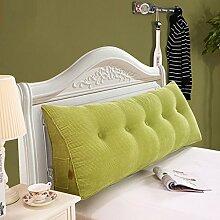 SESO UK- Schlafsofa Großes gefülltes dreieckiges Keilkissen Schlafzimmer Bett Rückenlehne Kissen Lesekissen Büro Lendenwirbelsäule mit abnehmbarem Bezug ( Farbe : Grün , größe : 70*50cm )