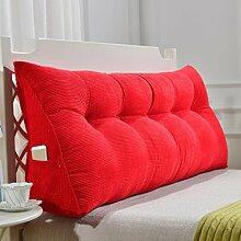 SESO UK- Schlafsofa Großes gefülltes dreieckiges Keilkissen Schlafzimmer Bett Rückenlehne Kissen Lesekissen Büro Lendenwirbelsäule mit abnehmbarem Bezug ( Farbe : Rot , größe : 120*50cm )