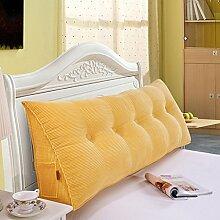 SESO UK- Schlafsofa Großes gefülltes dreieckiges Keilkissen Schlafzimmer Bett Rückenlehne Kissen Lesekissen Büro Lendenwirbelsäule mit abnehmbarem Bezug ( Farbe : Gelb , größe : 50*50cm )