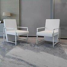 Sessel 2 Stk. Verchromtes Gestell Weiß Kunstleder