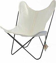 Sessel AA Butterfly–Struktur Schwarz, Tasche Leinwand weiß