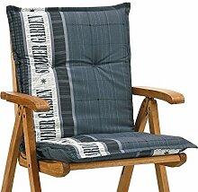 Sessel Auflagen 8 cm dick 103 cm lang in grau gestreift Ibiza 40247-700 (ohne Stuhl)
