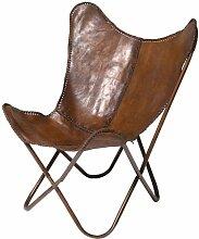 Sessel Butterfly Braun, moderner Design Echtledersessel im Retrolook, extravaganter Relaxsessel im Vintagestyle, Designstuhl; (H/B/T) 87x80x76cm