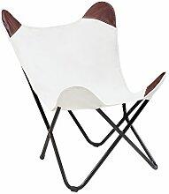 Sessel BUTTERFLY Canvas natur Designklassiker mit Eisengestell Lounge Esszimmer Klappstuhl Loungesessel Liegestuhl