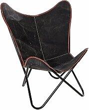 Sessel BUTTERFLY Leinen schwarz Designklassiker mit Eisengestell Luxus Campingsessel Stuhl Campingstuhl Liegesessel