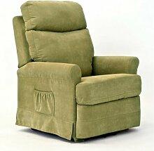 Sessel für Senioren FRANKFURT, 2 Motoren, Aufstehhilfe. Abziehbarer, olivgruener Stoffbezug