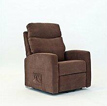 Sessel für Senioren LISSABON, 2 Motoren, Aufstehhilfe. Abziehbarer, brauner Stoffbezug