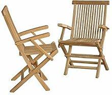 Sessel Gartenstuhl 2Stück hochklappbaren Teak