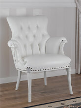 Sessel Katrin Moderner Barock Stil weiß lackiert