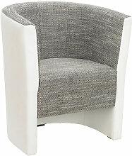 SESSEL Lederlook, Webstoff Grau, Weiß