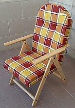 Sessel Liegestuhl Amalfi aus Holz mit 4Positionen Kissen gefüllt H 105cm Wohnzimmer Küche Lounge Sofa (bordeaux)