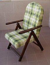 Sessel Liegestuhl Amalfi aus Holz mit 4Positionen Kissen gefüllt H 105cm Wohnzimmer Küche Lounge Sofa
