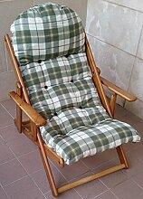 Sessel Liegestuhl Haus Garten Relax in Holz faltbar Kissen Super Gepolsterte H 100cm Wohnzimmer Küche Lounge Sofa verstellbar 3Positionen